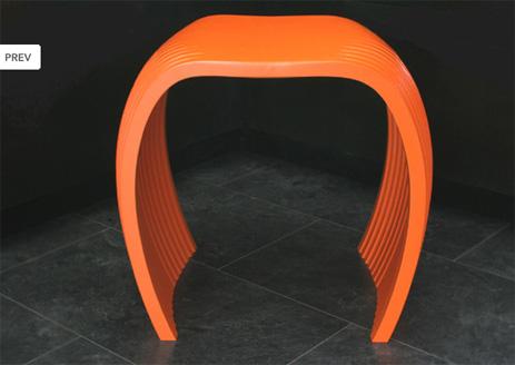 CNC Plastic Cut Orange Stool