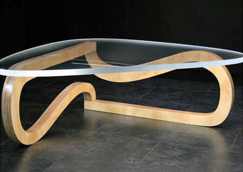 Wood and Metal Engraved Table
